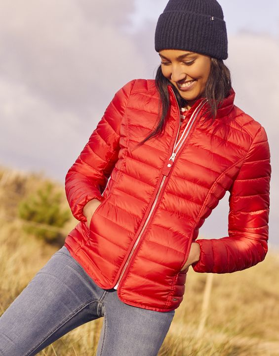 Joules Womens Canterbury Short Luxe Padded Jacket - Red