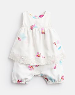 Joules US Uma Baby Girls Mock Layer Printed Babygrow WHITE FAIRY FLORAL