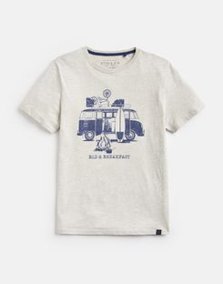 Joules US Graphic Tee Mens Printed Crew Neck T-Shirt CREAM MARL