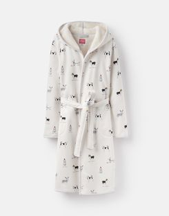 Joules US Ida Womens Jersey Robe With Fluffy Inner WHITE XMAS DOGS