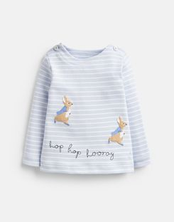 Joules UK Hoppy Baby Boys Official Peter Rabbit™ Collection Jersey Applique Top BLUE STRIPE PETER RABBIT