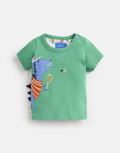 Joules US Archie Baby Boys Jersey Applique T-Shirt GREEN SPORT DINO