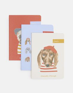 Joules UK Set Of Three Notebooks Homeware A6 BLUE DOG MULTI