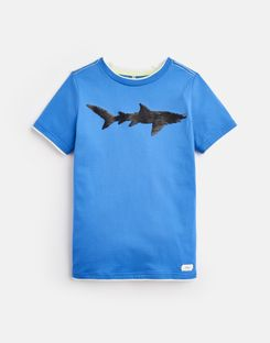 Joules UK Cullen Older Boys Two-Way Sequin T-Shirt 3-12 Yr BLUE TWO WAY SEQUIN SHARK