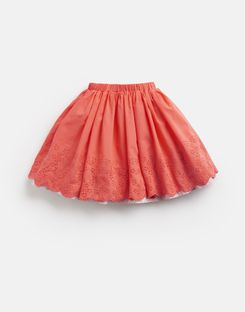 Joules UK Myla Broderie Older Girls Woven Skirt 3-12 Yr BRIGHT CORAL