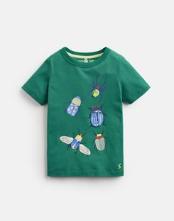 Joules UK CHOMPER Younger Boys Applique T-Shirt 1-6yr GREEN BEETLE