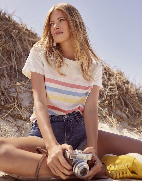 Joules Womens Carley Stripe Classic Crew T-Shirt - Multi Stripe