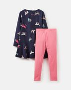 Joules Girls Iona Tunic And Legging Set 1 6 Years in NAVY HORSES