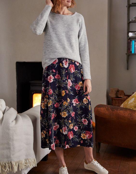 Joules Womens Corinna Button Through Skirt - Blue Floral