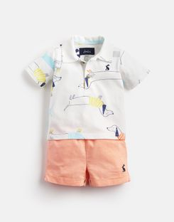Joules US Ernest Baby Boys Jersey Polo Top And Short Set WHITE SAUSAGE DOGS