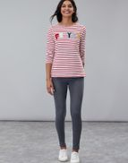 Red Stripe Xmas Pud Joules Girls Festive Harbour Luxe Embellished Top