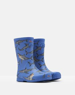Joules US Roll Up Boys Rain Boots LIGHT BLUE SHARKS