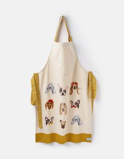 Joules UK Kitchen Apron Homeware Single Cotton WHITE ALL OVER DOGS