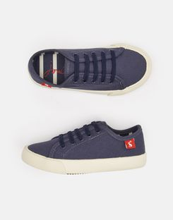 Joules UK Coast Pump Boys Canvas Lace Up Trainers FRENCH NAVY