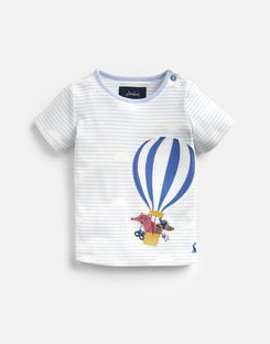 Joules US Jack Baby Boys Applique Top BLUE STRIPE HOT AIR BALLOON