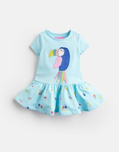 Joules UK Katy Baby Girls Jersey Applique Dress AQUA FRUIT TOUCAN