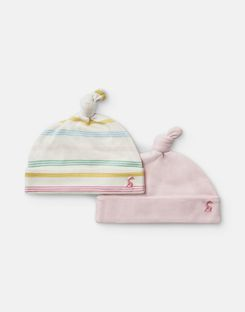 Joules US Koo 2 Pack Baby Girls Jersey Hats SOFT PINK