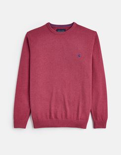 Joules UK Jarvis Mens Cotton Crew Neck Jumper RASPBERRY