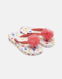 Joules US Printed Girls Flip Flops WHITE JUMBLE DITSY