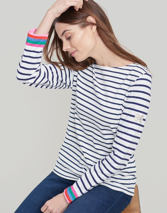 Joules UK Harbour Womens Jersey Top MULTI CUFF STRIPE
