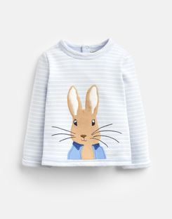 Joules UK Dash Baby Girls Official Peter Rabbit™ Collection Applique Sweatshirt BLUE STRIPE PETER RABBIT
