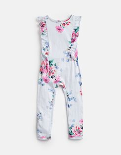 Joules US Rosalie Younger Girls Jersey Printed Jumpsuit 1-6 Yr SKY BLUE STRIPE FLORAL