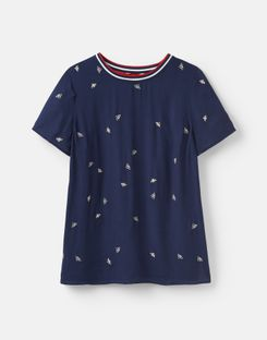 Joules US Eliza Womens Embroidered Woven T Shirt With Rainbow Trim Detail NAVY BEE