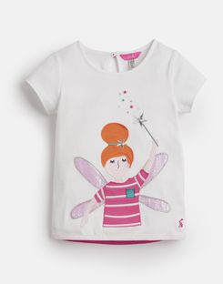 Joules UK Maggie Younger Girls Jersey Applique T-Shirt 1-6 Yr WHITE FAIRY