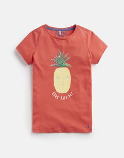 Joules US Astra Older Girls Jersey Applique Top 3-12 Yr CORAL PINEAPPLE