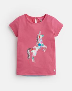 Joules US Maggie Younger Girls Jersey Applique T-Shirt 1-6 Yr PINK UNICORN SPOT