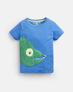 Joules UK Archie Younger Boys Applique T-Shirt 1-6 Yr BLUE CHAMELEON