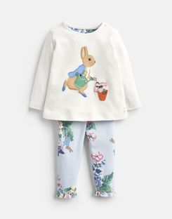 Joules US Poppy Baby Girls Official Peter Rabbit™ Collection Applique Top And Pants Set CREAM GARDENING PETER