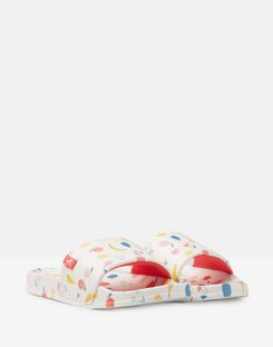 Joules US Poolside Girls Pvc Sliders WHITE JUMBLE DITSY