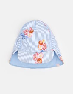 Joules UK Paddle Girls Swim Hat BLUE FLORAL STRIPE