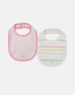 Joules US Oops 2 Pack Baby Girls Jersey Bibs SOFT PINK