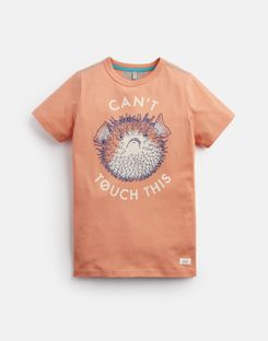 Joules US Ben Older Boys Screenprint T-Shirt 3-12 Yr ORANGE PUFFERFISH