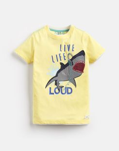 Joules UK WILDSIDE Older Boys Artwork Tee 3-12yr YELLOW SHARK