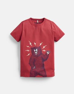 Joules UK Castaway Older Boys Glow In The Dark T-Shirt 3-12 Years RED BEAR