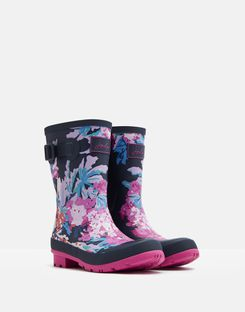 Joules UK Molly Womens Mid Height Printed Wellies NAVY ALL OVER FLORAL