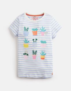 Joules UK ASTRA Older Girls JERSEY APPLIQUE TOP 3-12yr BLUE STRIPE CACTI