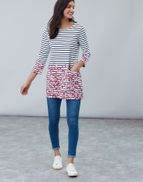 Joules Womens Quinn Tunic with Pockets in CREAM BORDER DITSY