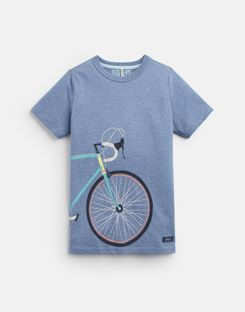 Joules US Ben Older Boys Screenprint T-Shirt 3-12 Yr BLUE MARL BIKE