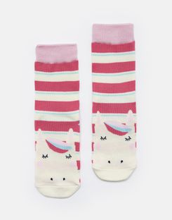 Joules US Neat Feet Girls Character Socks BRIGHT PINK STRIPE HORSE