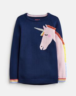 Joules US Gee Gee Older Girls Novelty Knitted Sweater 1-12 Yr NAVY UNICORN