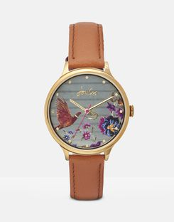 Joules UK BLOOM Womens LADIES LEATHER STRAP WATCH CREAM WOODLAND FLORAL