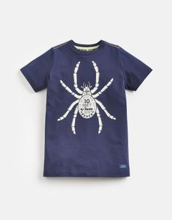 Joules US Ben Older Boys Screenprint T-Shirt 3-12 Yr NAVY SPIDER