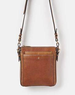 Joules US Dunton Leather Womens Cross Body Bag TAN