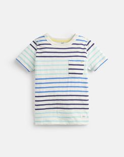 Joules US Caspian Younger Boys Stripe T-Shirt 3-12 Yr CREAM BLUE STRIPE