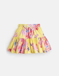 Joules UK Liza Younger Girls Jersey Printed Skirt 1-6 Yr YELLOW FLORAL