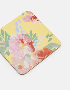 Joules UK KITCHEN COASTERS Homeware Set Of 4 Cork-Backed BLUE FLORAL MULTI